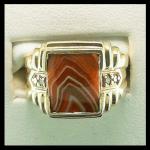 Custom Lake Superior Agate & Diamond Ring