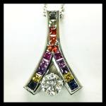 Custom 14KW Rainbow Sapphire & Diamond Pendant