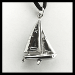 """Sterling """"X"""" Scow Sailbout Pendant"""