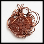 Custom Antique-Copper Wire Hand Carved Carnelian Butterfly