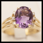 14KY Amethyst & Diamond Ring