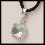 14KW Aquamarine & Diamond Pendant