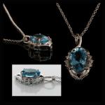 14KW Oval-Cut Aquamarine & Diamond Pendant