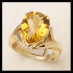 14KY Pear-Cut Citrine & Diamond Ring