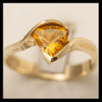 14KY Trillion-Cut Citrine Ring