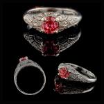 14KW Lab-Created Pink Diamond & Diamond Ring