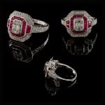 18KW Ruby & Diamond Vintage Look Ring