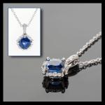 14KW Cylone Blue Sapphire & Diamond Pendant