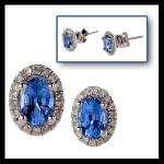 14KW Blue Sapphire & Diamond Stud Earrings