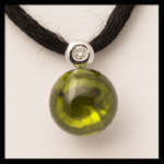 14KW Cabochon-Cut Peridot & Diamond Pendant