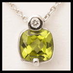 14KW Cushion-Cut Peridot & Diamond Pendant