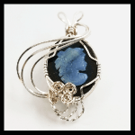 Custom Silver-Plated Wire-Hand carved opal-onyx cameo