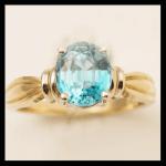 14KY Oval-Cut Blue Zircon Ring