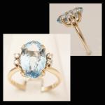 14KY Blue Zircon & Diamond Ring