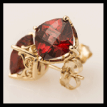 14KY Cushion-Cut Checker-Top Mozambique Garnet Earrings