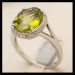 14KW Oval-Cut Peridot & Diamond Ring