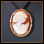 14KY Carved Shell Cameo Pin/Pendant