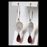 Sterling Dangle Coin Pearl Garnet Briolet Earrings