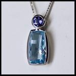 Sterling Bezel-Set Blue Topaz Amethyst Pendant