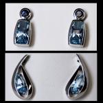 Sterling Blue Topaz Fancy Stud Earrings
