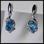 Sterling Blue White Topaz Stud Dangle Earrings