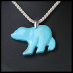 Sterling Faux Turquoise Large Bear Pendant