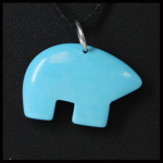 Sterling Faux Turquoise Zuni Style Pendant