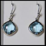 Sterling Checker-Top Blue Topaz Earrings
