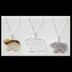 Sterling Flat Stone Bear Pendants
